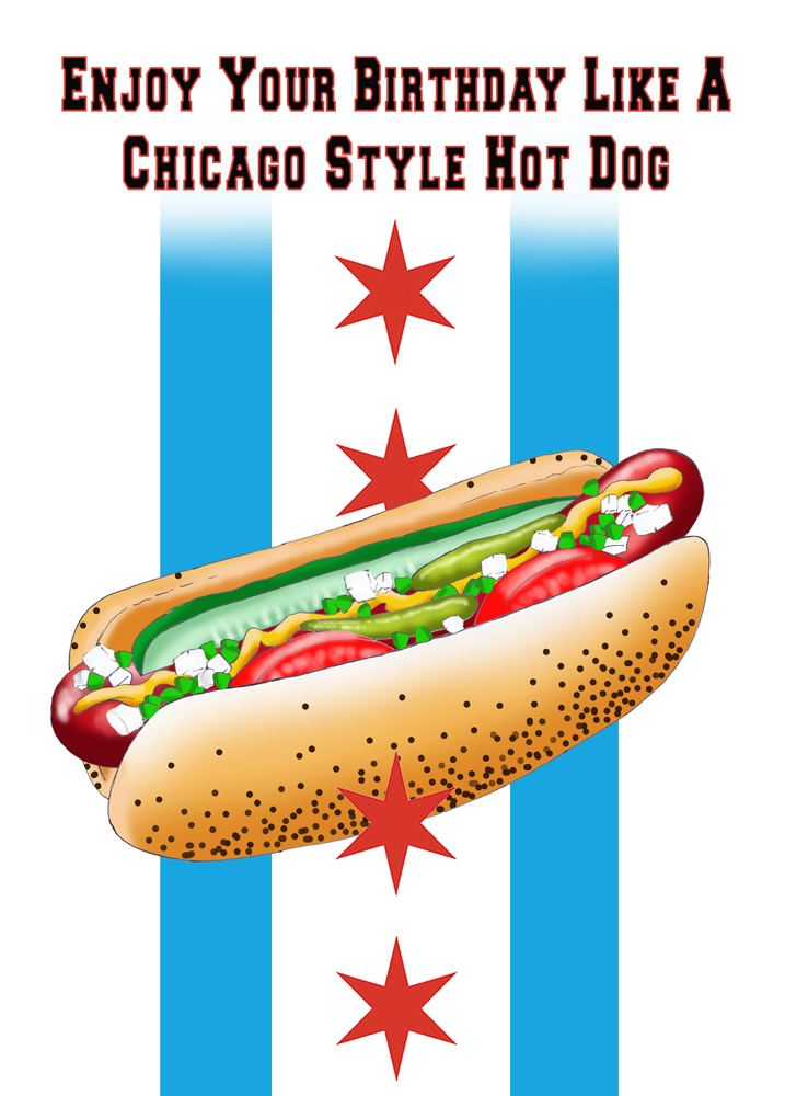 etsy Lavenderpop chicago style hot dog birthday art